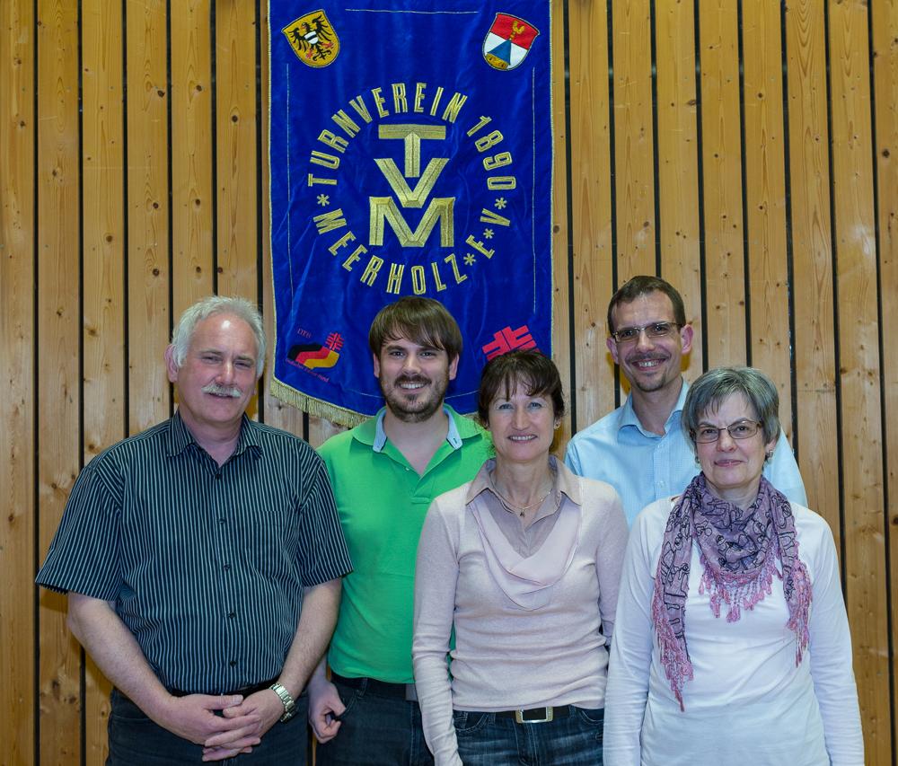 Von links: Kassierer Thomas Müller, Jugendwart Matthias Müller, Sportwartin Bärbel Appich, 1.Vorsitzender Carsten Ullrich, Schrift- und Geschäftsführerin Gabriele Ullrich.